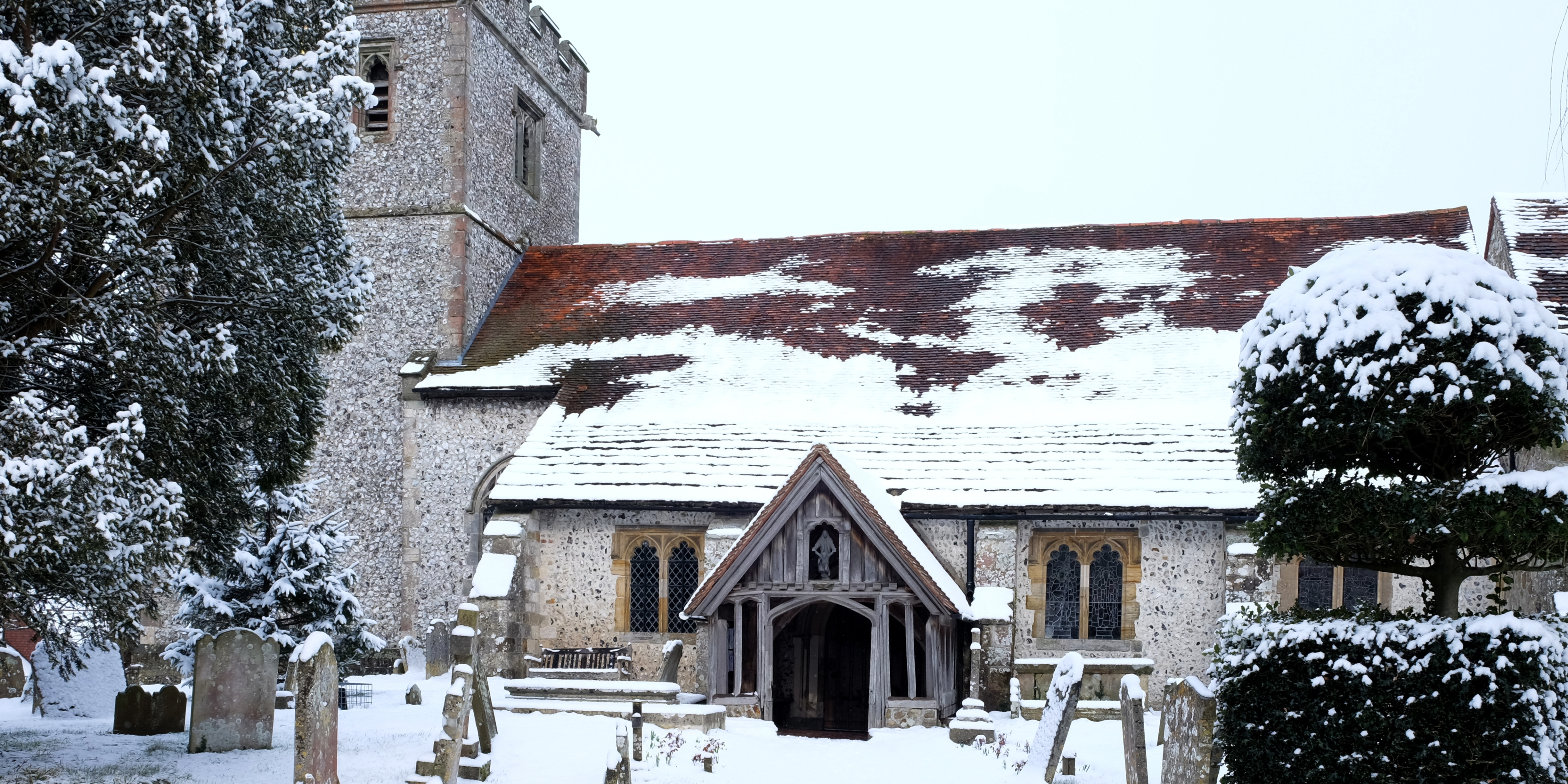 Churchyard covered in snow